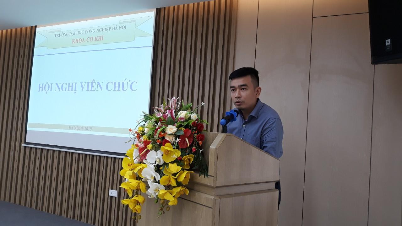 Hội nghị công chức, viên chức (CCVC) Tổng kết năm học 2018-2019 và triển khai nhiệm vụ năm học 2019-2020 khoa Cơ khí