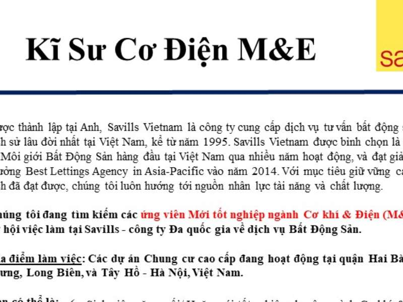 Thông báo tuyển dụng của Công ty Savills Việt Nam